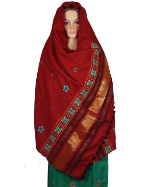 Megha Art & Crafts Woolen Hand Wooven Zari Shawl MAC121