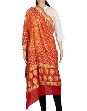 Megha Art & Crafts Acrylic Wool With Zari Hand Wooven Shawl MAC139