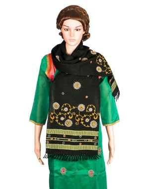 Megha Art & Crafts Woolen Stole With Kutch Embroidery MAC72