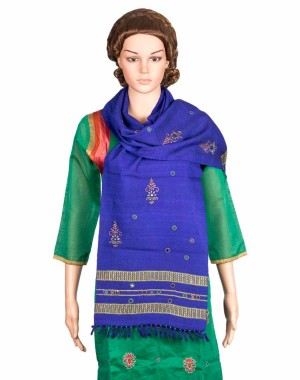 Megha Art & Crafts Woolen Stole With Kutch Embroidery MAC77