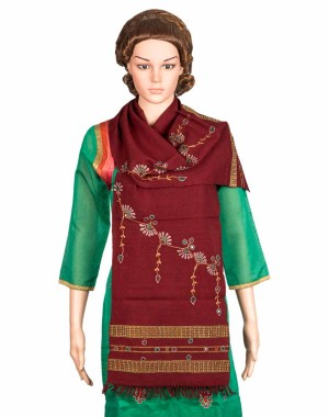 Megha Art & Crafts Woolen Stole With Kutch Embroidery MAC78