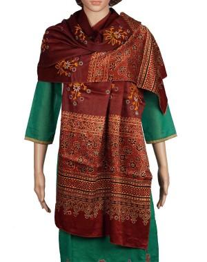 Megha Art & Crafts Mashru Silk Stole With Kutch Embroidery MAC87