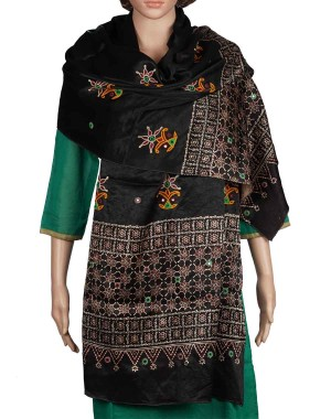 Megha Art & Crafts Mashru Silk Stole With Kutch Embroidery MAC88