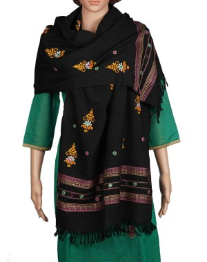 Megha Art & Crafts Woolen Stole With Kutch Embroidery MAC92