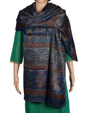 Megha Art & Crafts Woolen Stole With Kutch Embroidery MAC99
