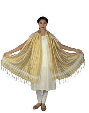Golden white Dupatta BB16