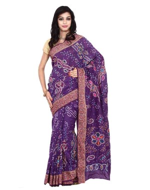 Kala Sanskruti Bandhani Gadhwal Saree in Purple color