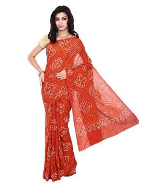 Kala Sanskruti Bandhani Cotton Saree In Orange Color