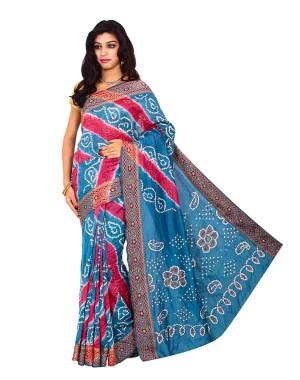 Kala Sanskruti Gadhwal Silk Blue & Red Bandhej Saree