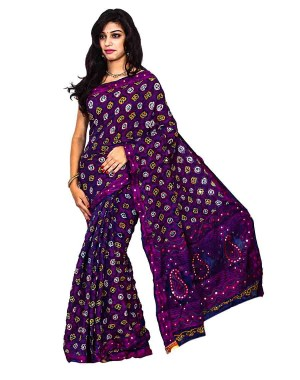 Kala Sanskruti South Silk Bandhej Saree In Purple Color