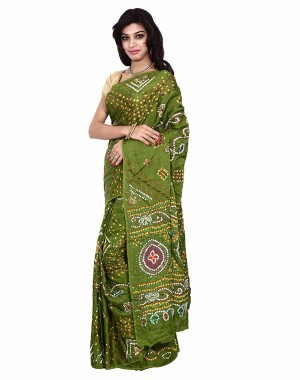 Gaji Silk Green Bandhani Saree