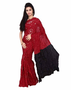 Art Silk  In Red And Black Bandhani Saree KS456