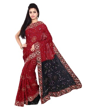 Art Silk Black And Red Bandhani Saree KS457