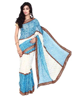 Kala Sanskruti Pure Crepe Blue And White Saree With Work