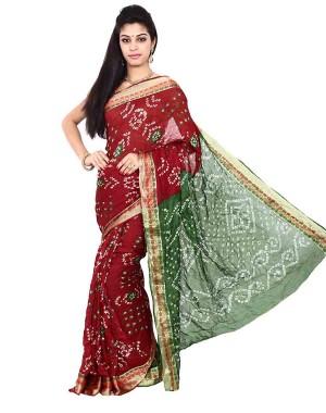 Art Silk Green And Red Bandhani Saree KS462