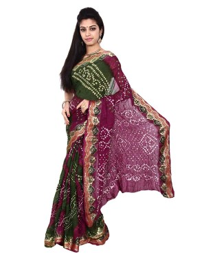 Art Silk Green And Purple Bandhani Saree KS466