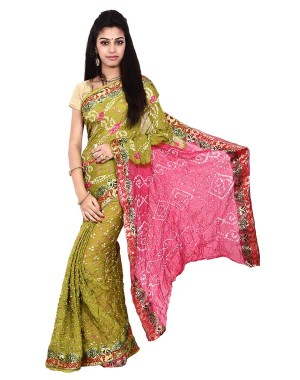 Art Silk Pink And Light Green Bandhani Saree KS467