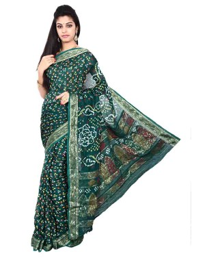 Art Silk Dark Green Bandhani Saree KS469
