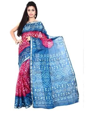 Pure Silk Pink And Blue Saree KS474