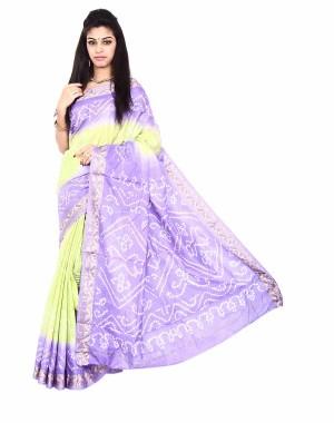 Pure Silk Purple And Lemon Yellow Bandhani Saree KS475