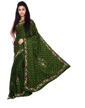 Italian Silk Green Bandhani Saree KS478