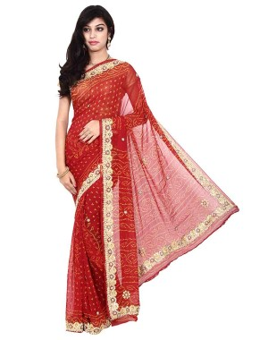 Kala Sanskruti Pure Crepe Red Color Bandhani Saree With Work