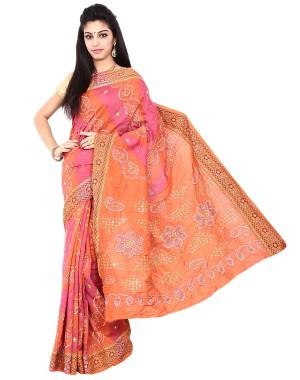 Gadhwal Silk Peach And Pink Bandhani Saree KS487