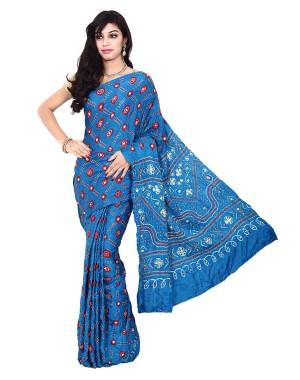 Kala Sanskruti Sky Blue Gajji Silk Bandhani Saree