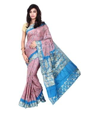 Kala Sanskruti South Silk Pink And Blue Color Saree