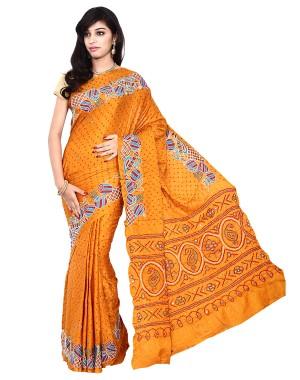 Kala Sanskruti Gajji Silk Rust Color Saree