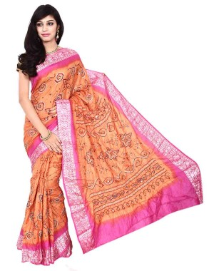 Kala Sanskruti Pure Silk Peach Saree