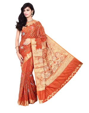 Kala Sanskruti Pure Silk Bandhani Saree in Rust Color