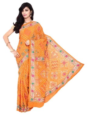 Kala Sanskruti Georgette Bandhani Saree In Orange Color