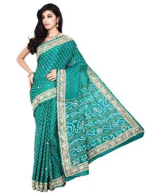 Kala Sanskruti Gajji Silk Sea Green Color Bandhani Saree