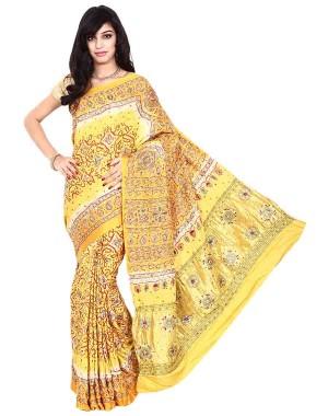 Kala Sanskruti Gajji Silk Yellow Color Bandhani Saree