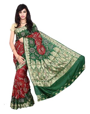 Kala Sanskruti South Silk Red And Green Bandhani Saree