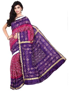 Kala Sanskruti Pure Silk Pink And Purple Color Bandhani Saree