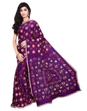 Kala Sanskruti Italian Silk Purple Bandhani Saree