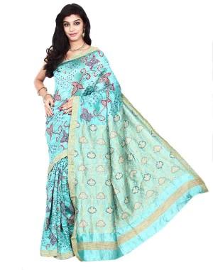 Kala Sanskruti Sky Blue Dupion Silk  Bandhani Saree