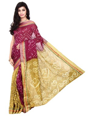 Kala Sanskruti Art Silk Golden And Red Bandhani Saree