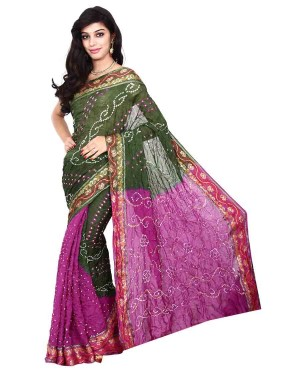Kala Sanskruti Art Silk Green And Magenta Bandhani Saree