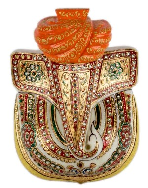 Marble Ganesha With Paghdi AAG44