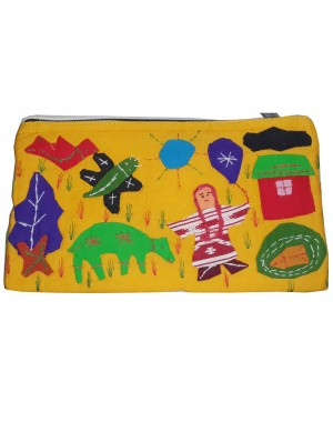 Yellow Color Jute Purse With Appliques MH03