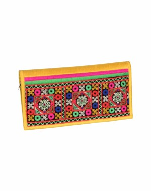 Rakhiyo Art Silk Yellow Clutch RAK33