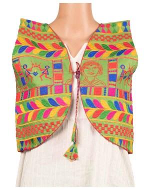 Buddha Print Embroidered Half Jacket OH2