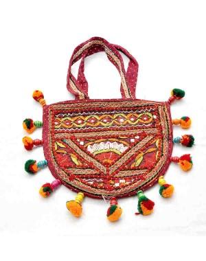 Red Paka Work Cotton Theli Bag