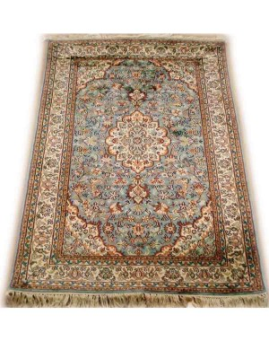 Aquamarine Sarouk Kashmiri Carpet KCE03