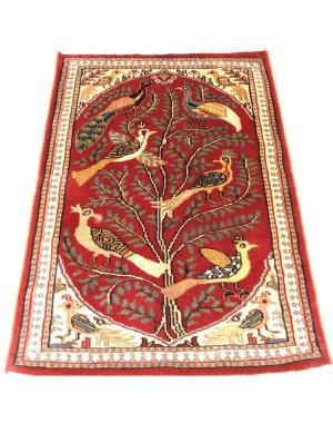 Red Tree Of Life Kashmiri Carpet KCE18