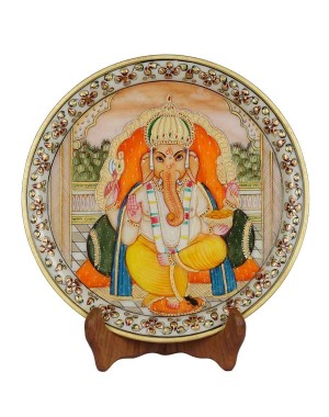 Marble Ganesh Painting Decorative Plate HH158