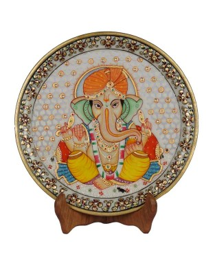 Marble Ganesh Painting Decorative Plate HH159